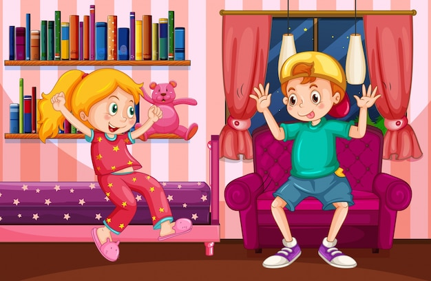 Jongen en meisje spelen in de slaapkamer