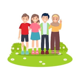 Jongen en meisje staan terwijl ze elkaar knuffelen in het park. gelukkig vriendschap concept. flat geïsoleerd op wit.