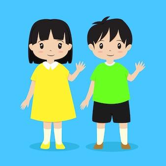 Jongen en meisje zwaaien met hun hand. kinderen karakter vector