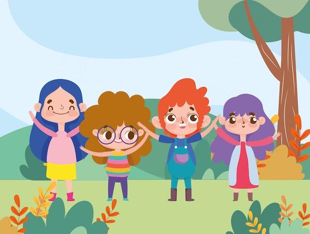 Jongen en meisjes gelukkig gelaatsuitdrukking karakter cartoon buitenshuis