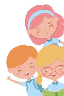 Jongen en meisjesjong geitje van schoolontwerp