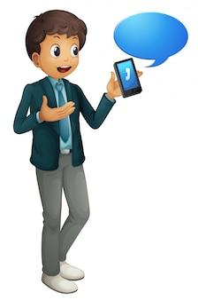 Jongen en mobiele telefoon