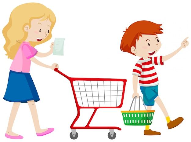Jongen en moeder winkelen voor boodschappen
