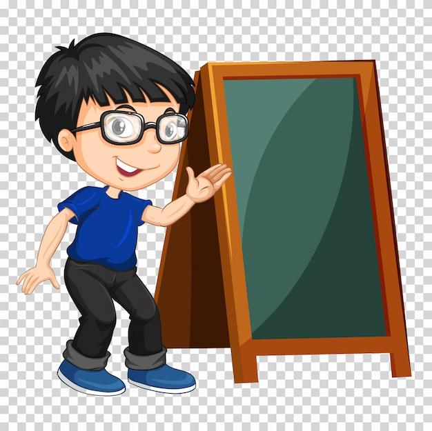 Jongen en schoolbord op transparant