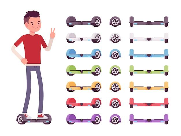 Jongen en set veelkleurige gyroscooters