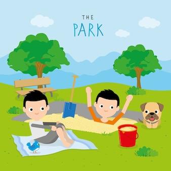 Jongen en vriend spelen activiteit ontspannen bij park stripfiguur