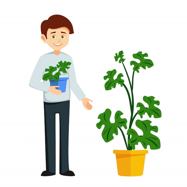 Jongen groeit potplanten