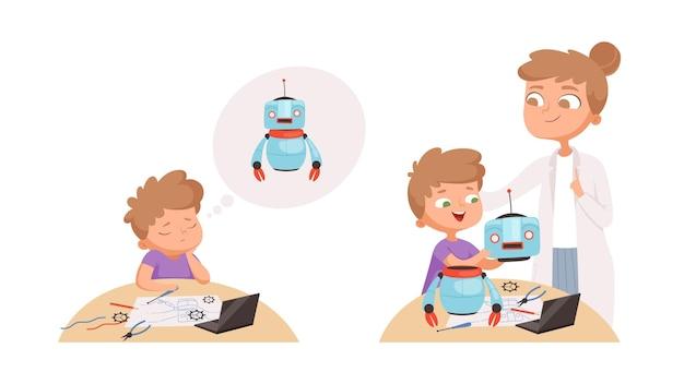 Jongen heeft hulp nodig. kleine jongen verdrietig, kind studeert robotica. docent en leerling