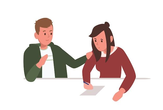 Jongen helpt meisje om essay te schrijven of huiswerk te maken geïsoleerd op een witte achtergrond. studenten of leerlingen die zich samen voorbereiden op schooltest of universitair examen. platte cartoon vectorillustratie.