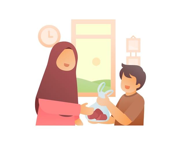 Jongen helpt zijn moeder om te winkelen