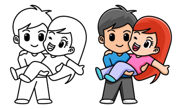 Jongen houdt zijn vriendin valentijn concept kleurplaat voor kinderen