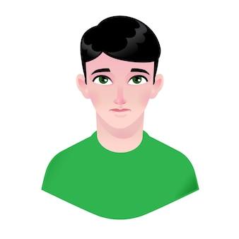 Jongen illustratie. jong kind. karakter voor reclame en design. helder beeld met grote ogen. profiel avatar.