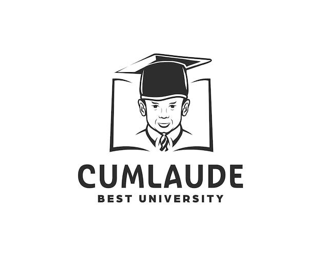 Jongen in afstudeerpet. hogeschool of universiteit logo ontwerp sjabloon illustratie.