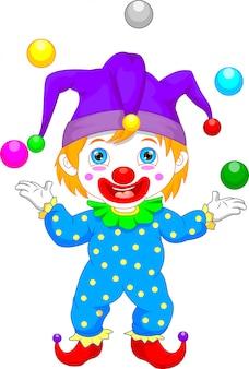 Jongen in clown kostuum cartoon