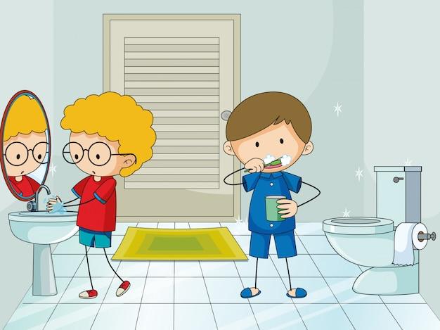 Jongen in de badkamer