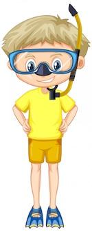 Jongen in geel shirt met snorkel en vinnen
