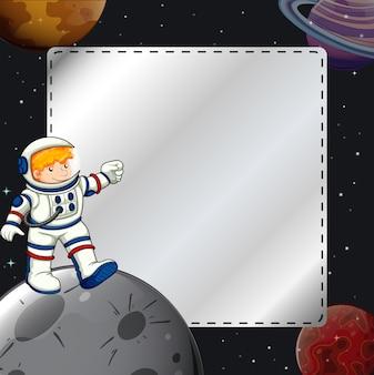 Jongen in het ruimtekader