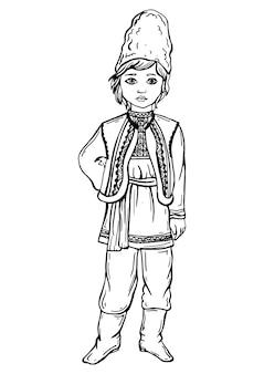 Jongen in moldavisch kostuum