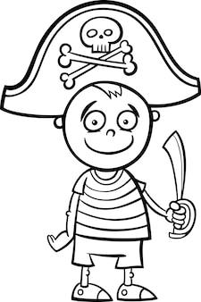 Jongen in piraat kostuum kleurplaat