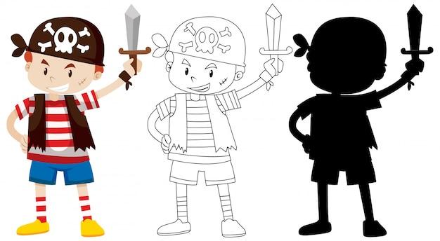 Jongen in piratenkostuum met zijn omtrek en silhouet