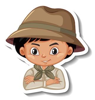 Jongen in safari-outfit stripfiguur sticker