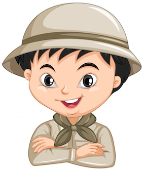 Jongen in safari-uniform