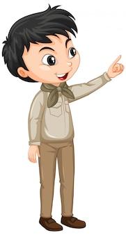 Jongen in scout uniform