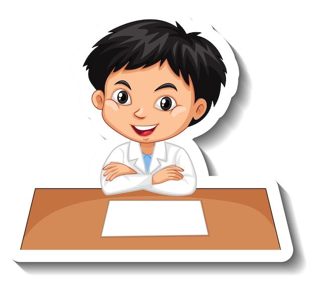 Jongen in wetenschappersoutfit die op leeg bureau schrijft