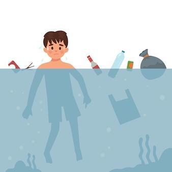 Jongen is zwemmen in vuil water