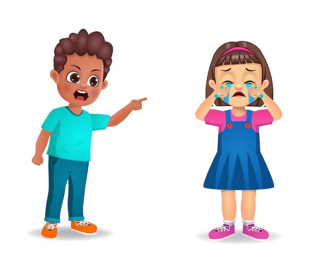 Jongen jongen boos op meisje jongen en haar aan het huilen maken