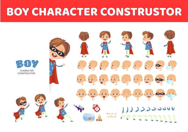 Jongen karakter constructor cartoon jongen creatie mascotte kit karakter set poses en emoties