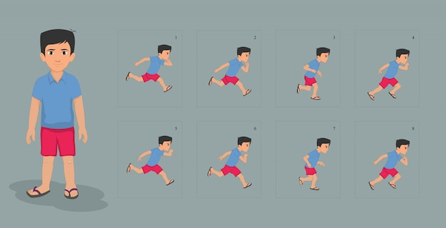 Jongen karakter met run cyclus animatie sprites blad
