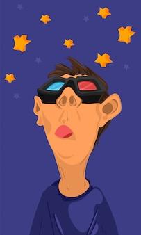 Jongen kijkt naar 3d-films met een bril