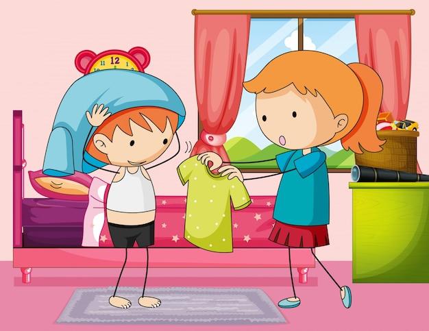 Jongen krijgt jurk in slaapkamer