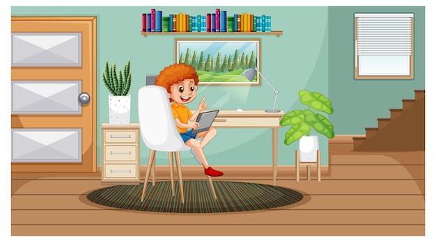 Jongen leert van huis op elektronisch apparaat