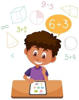 Jongen leert wiskunde met behulp van tablet