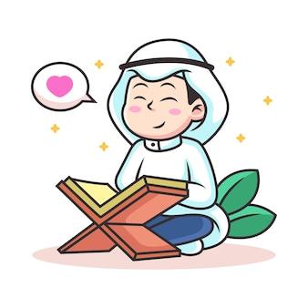 Jongen lees koran cartoon. pictogram illustratie. persoon pictogram concept geïsoleerd
