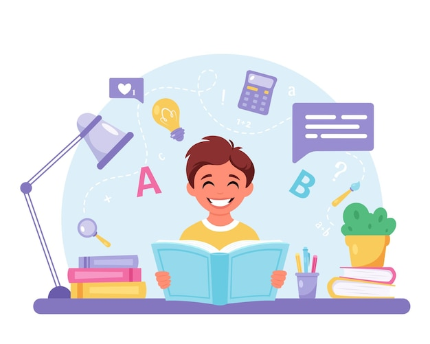 Jongen leesboek jongen doet huiswerk terug naar school