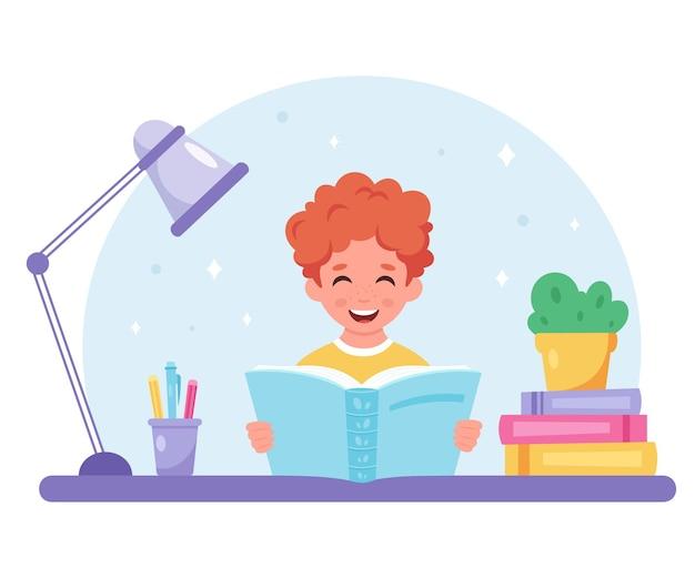 Jongen leest boek jongen studeert met een boek