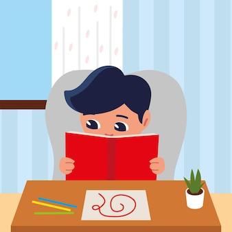 Jongen lezen met schets