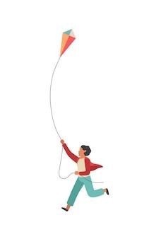 Jongen loopt met een vlieger. gelukkig klein kind dat buiten speelt, kleurrijk plat wandelend jeugdconcept