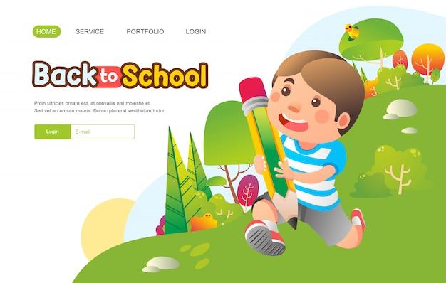 Jongen loopt terwijl het brengen van enorme potlood met blij gezicht naar buiten voor rug. naar school banner