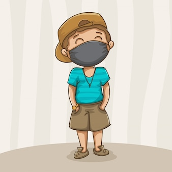 Jongen masker dragen