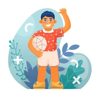 Jongen met bal in vlakke stijl geïsoleerd op floristische achtergrond vector illustratie elementaire leerlingen