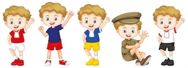 Jongen met blij gezicht in verschillende kostuums