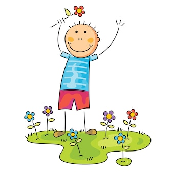 Jongen met bloem op zijn hand