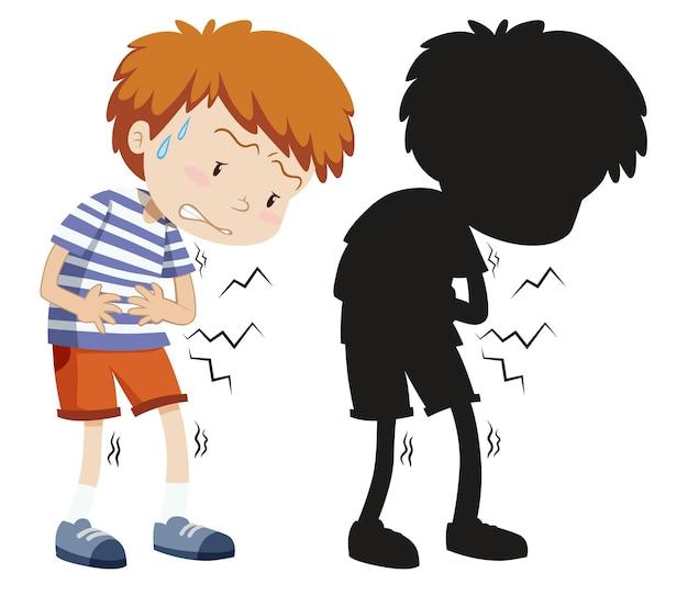 Jongen met buikpijn in kleur en silhouet