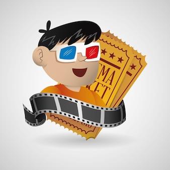 Jongen met een 3d-bril bioscoop met ticket