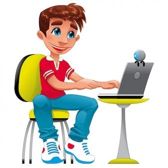 Jongen met een laptop ontwerp
