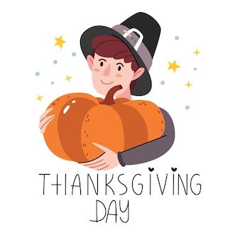 Jongen met een pompoen. thanksgiving-karakter in pelgrims kostuum.